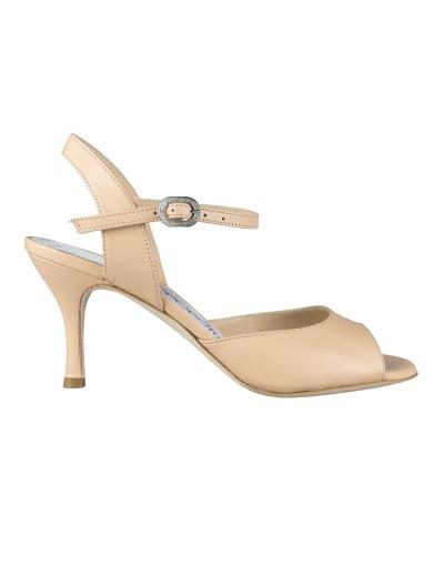 N1 paseo cuero beige Heel 7 cm